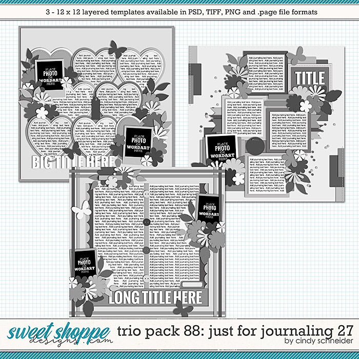 Cindy's Layered Templates - Trio Pack 88: Just for Journaling 27 by Cindy Schneider