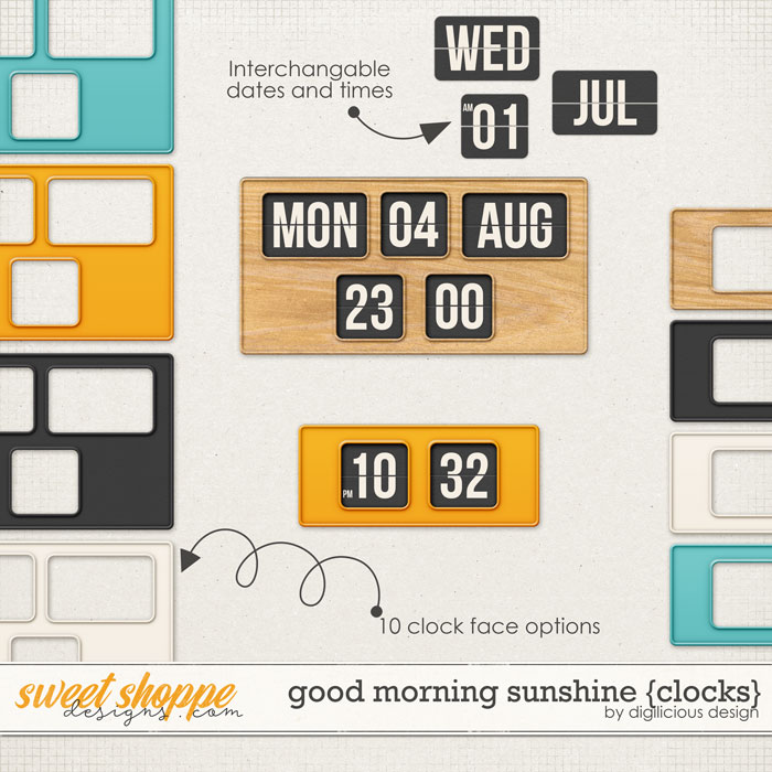 Good Morning Sunshine {Clocks} by Digilicious Design