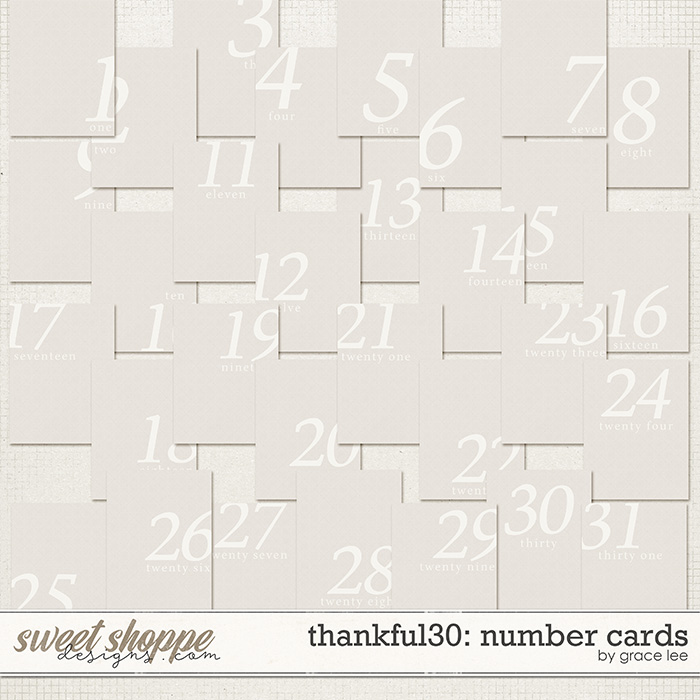Thankful 30: Number Cards by Grace Lee