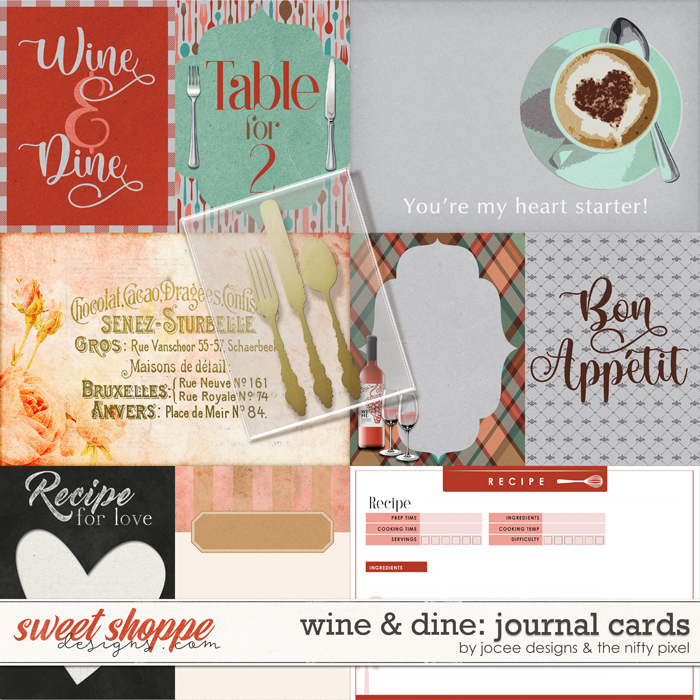 Wine and Dine Cards by JoCee Designs and The Nifty Pixel