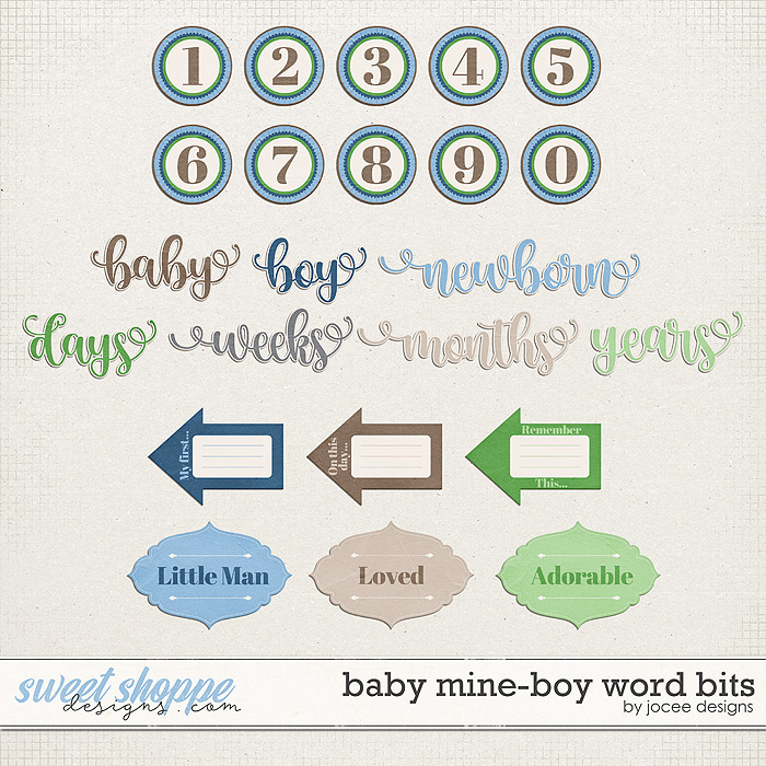 Baby Mine-Boy Word Bits by JoCee Designs