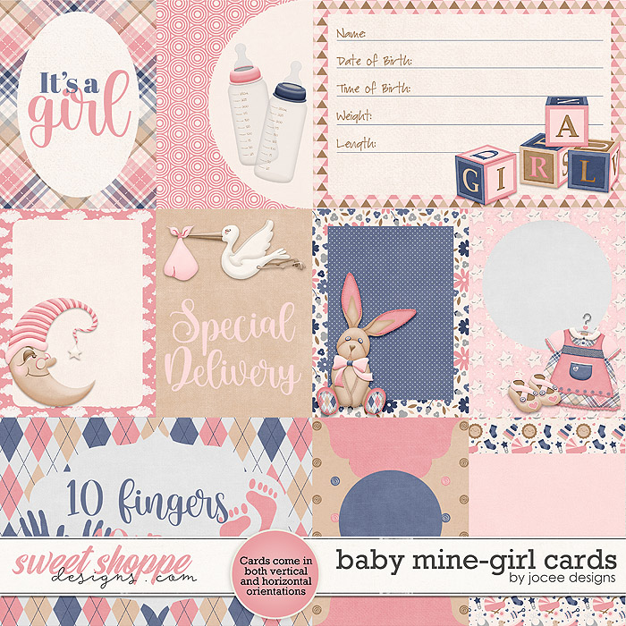 Baby Mine-Girl Cards by JoCee Designs