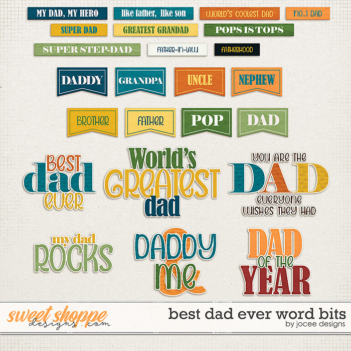 Best Dad Ever Word Bits by JoCee Designs