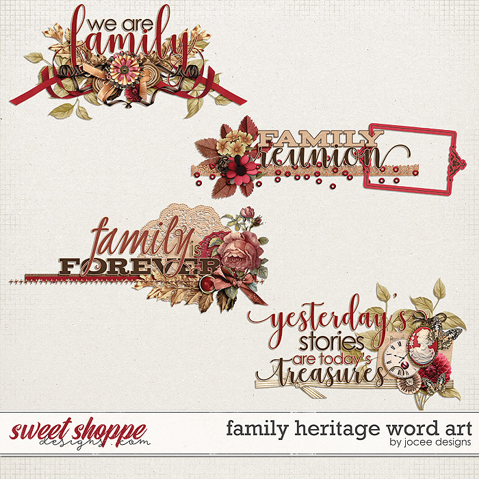 Family Heritage Word Art by JoCee Designs