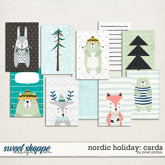 NORDIC HOLIDAY: JOURNALING CARDS by Janet Phillips