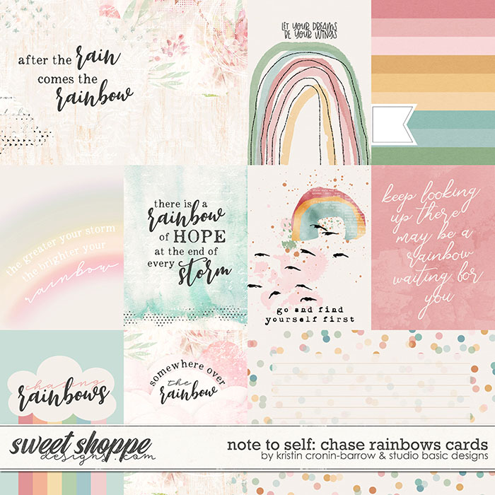 Note To Self: Chase Rainbows Cards by Kristin Cronin-Barrow & Studio Basic