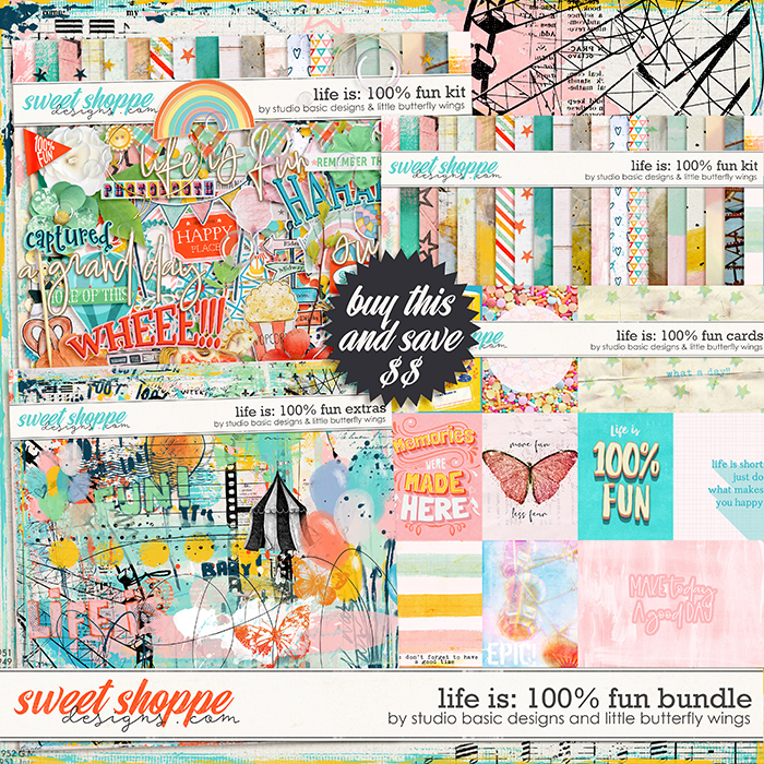 Life Is: 100% Fun Bundle by Studio Basic and Little Butterfly Wings