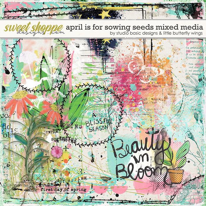 April Is For Sowing Seeds Mixed Media by Studio Basic & Little Butterfly Wings
