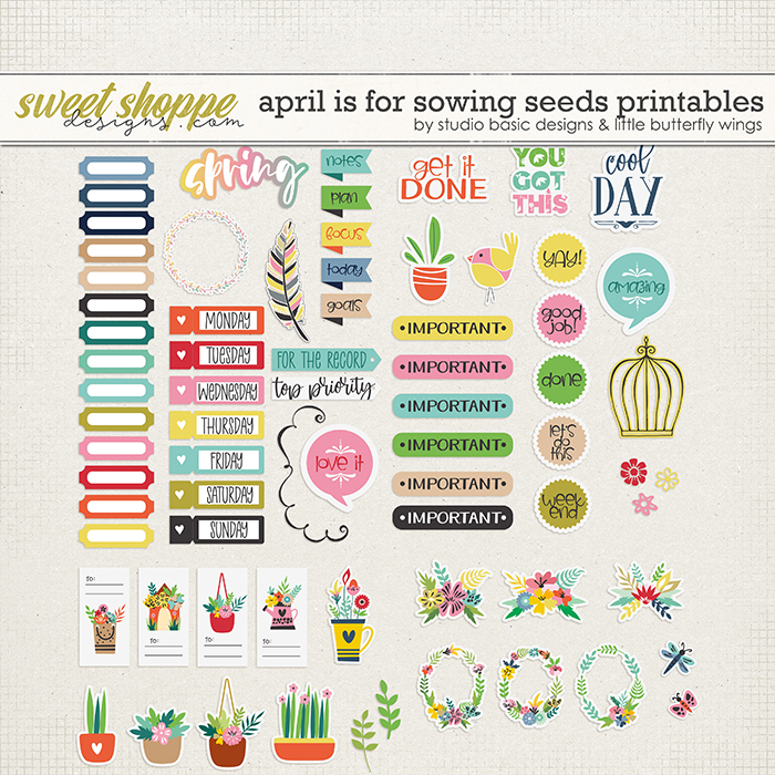 April Is For Sowing Seeds Printables by Studio Basic & Little Butterfly Wings