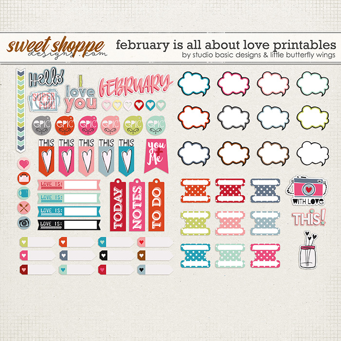 February Is All About Love Printables by Studio Basic and Little Butterfly Wings