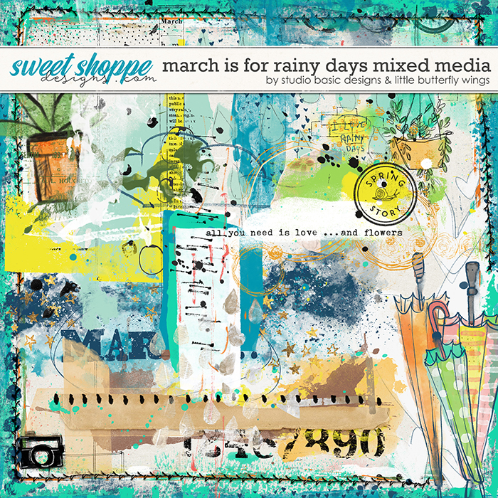 March Is For Rainy Days Mixed Media by Studio Basic & Little Butterfly Wings