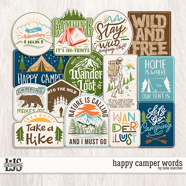 Happy Camper Words by LJS Designs