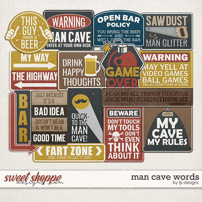 Man Cave Words by LJS Designs