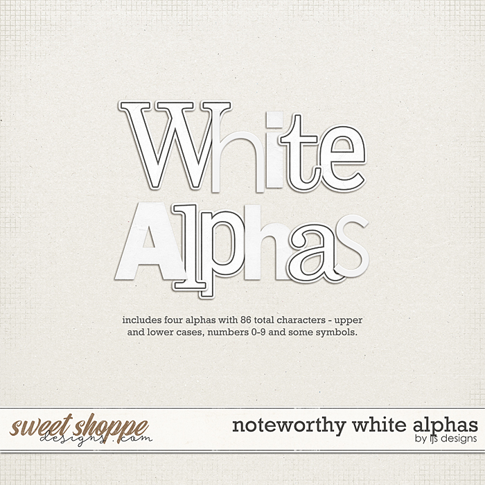 Noteworthy White Alphas by LJS Designs