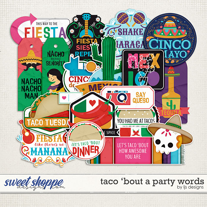 Taco 'Bout A Party Words by LJS Designs