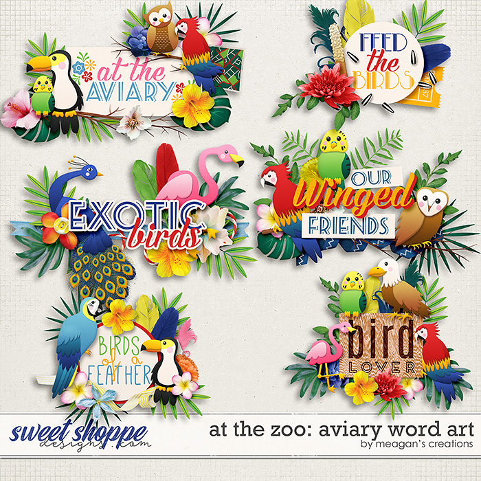 At the Zoo: Aviary Word Art by Meagan's Creations