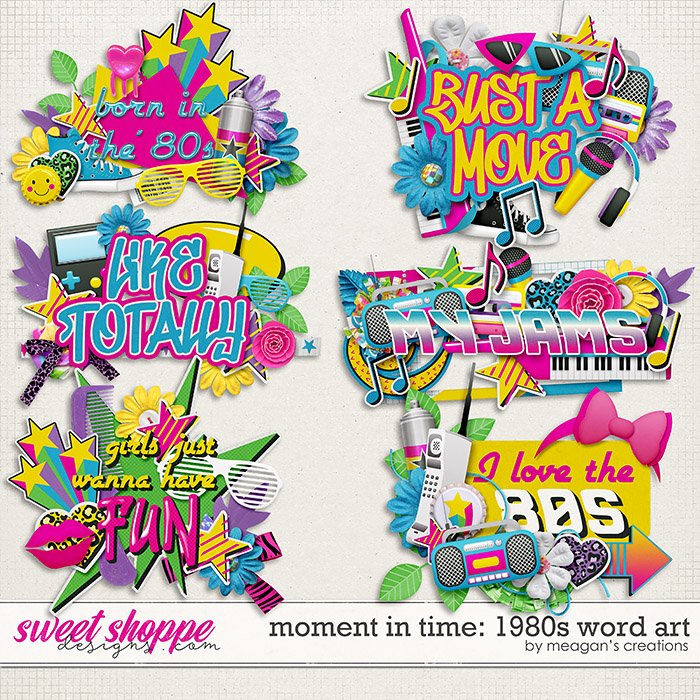 Moment in Time: 1980s Word Art by Meagan's Creations