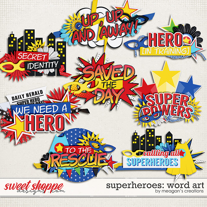 Superheroes: Word Art by Meagan's Creations