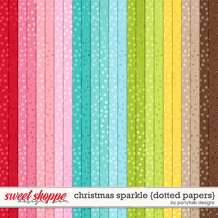 Christmas Sparkle Dotted Papers by Ponytails