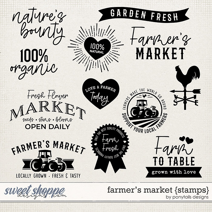 Farmer's Market Stamps by Ponytails