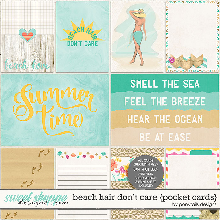 Beach Hair Don't Care Pocket Cards by Ponytails