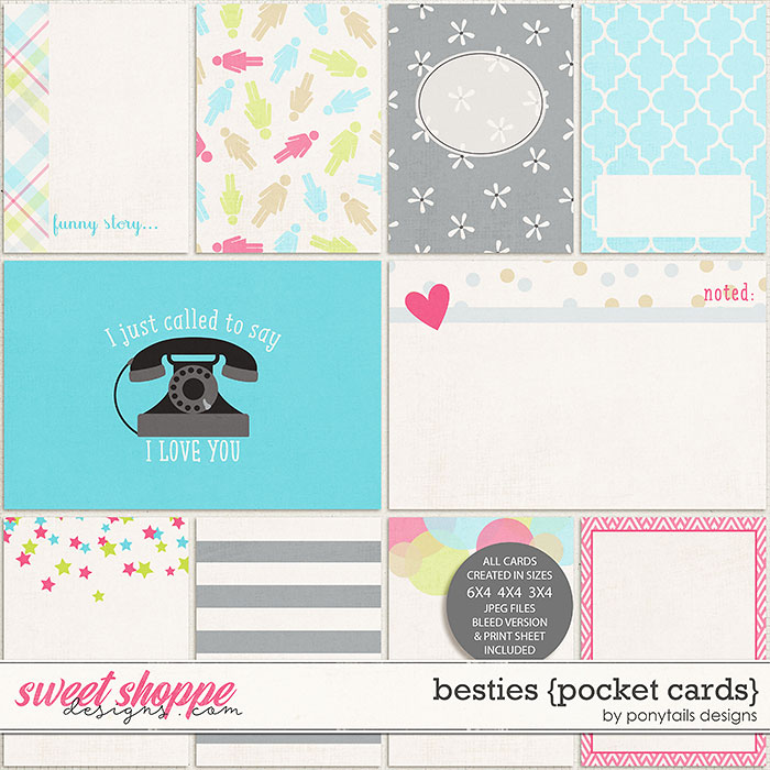 Besties Pocket Cards by Ponytails