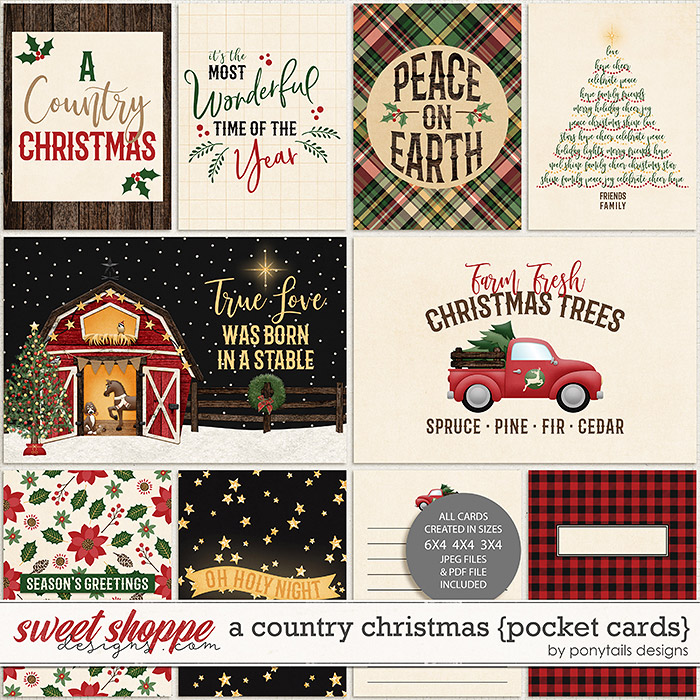 A Country Christmas Pocket Cards by Ponytails