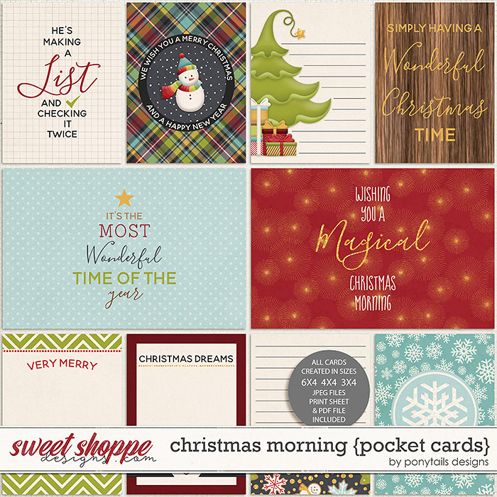 Christmas Morning Pocket Cards by Ponytails