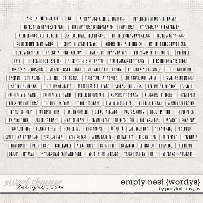 Empty Nest Wordys by Ponytails