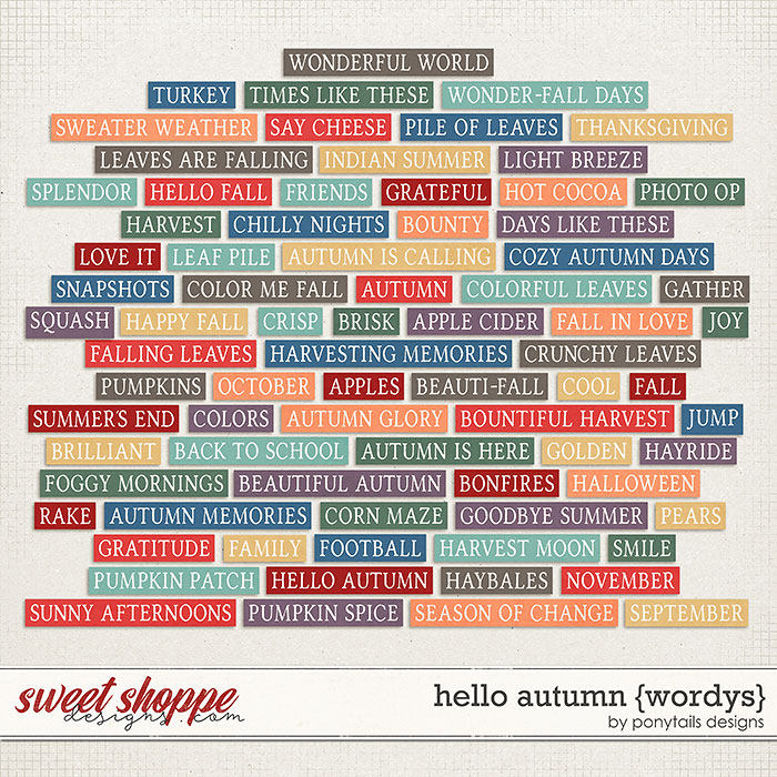 Hello Autumn Wordys by Ponytails