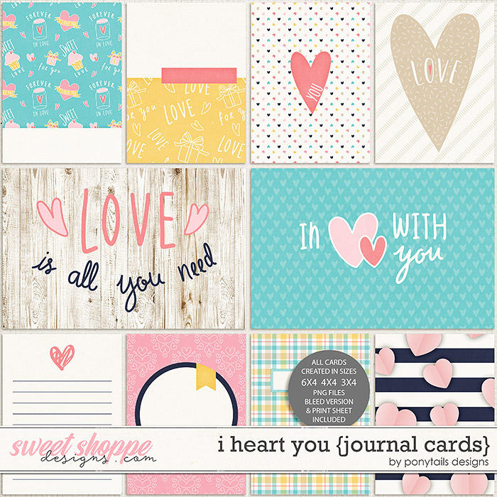 I Heart You Journal Cards by Ponytails