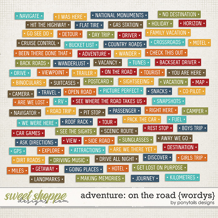 Adventure: On the Road Wordys by Ponytails