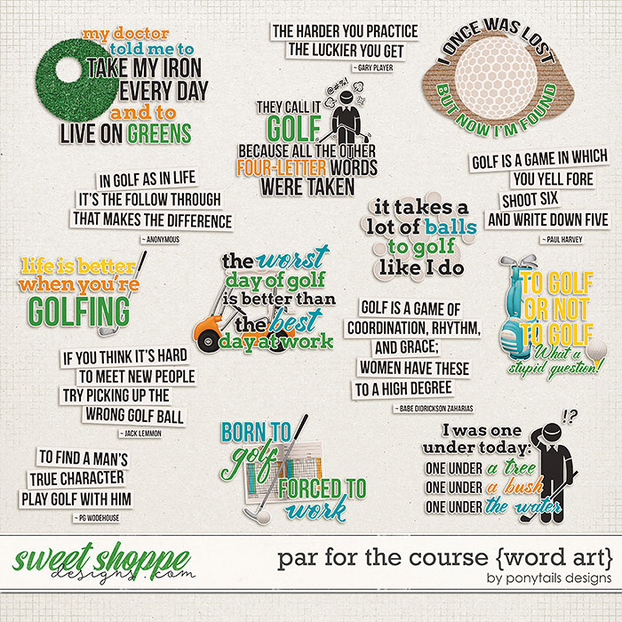 Par for the Course Word Art by Ponytails