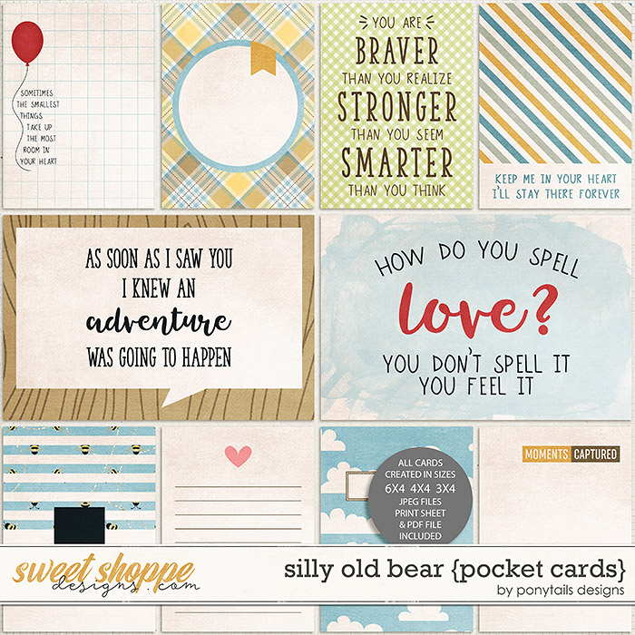 Silly Old Bear Pocket Cards by Ponytails
