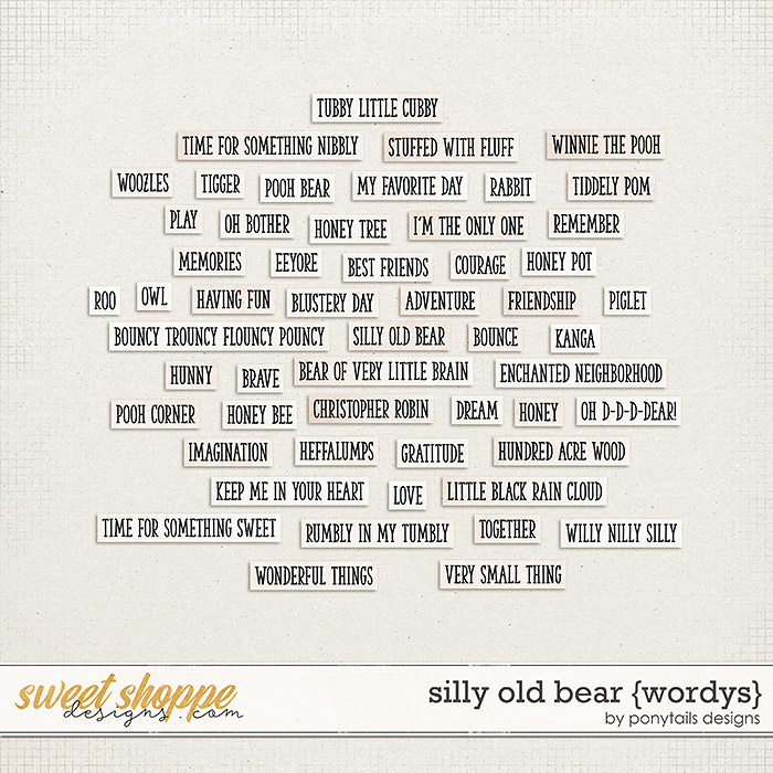 Silly Old Bear Wordys by Ponytails