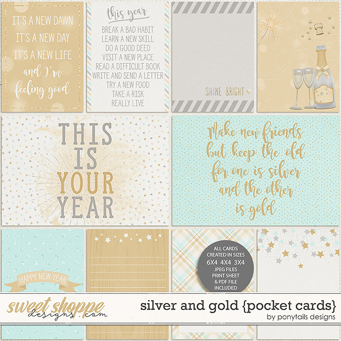 Silver and Gold Pocket Cards by Ponytails
