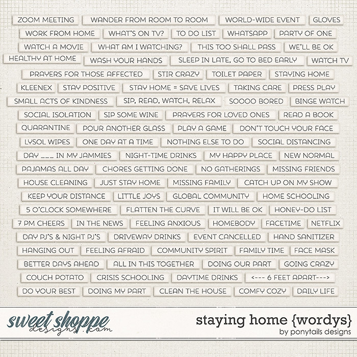 Staying Home Wordys by Ponytails