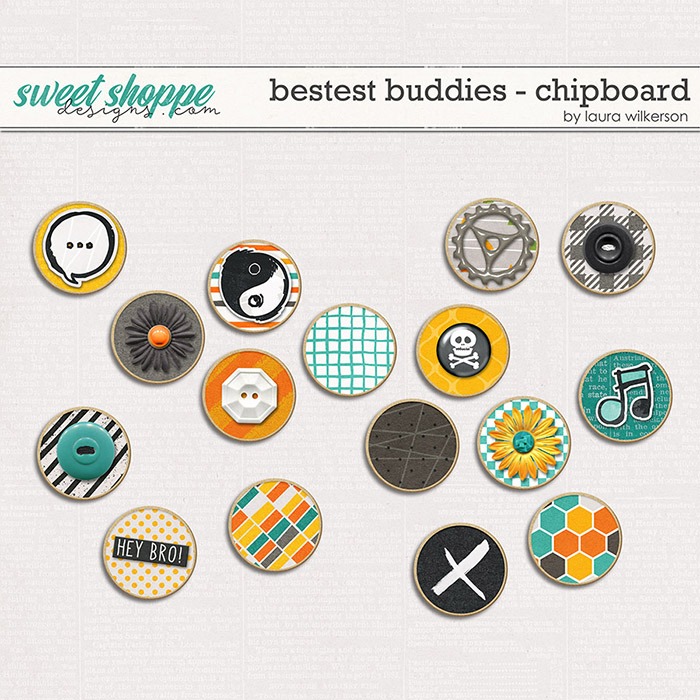 Bestest Buddies: Chipboard Chips by Laura Wilkerson