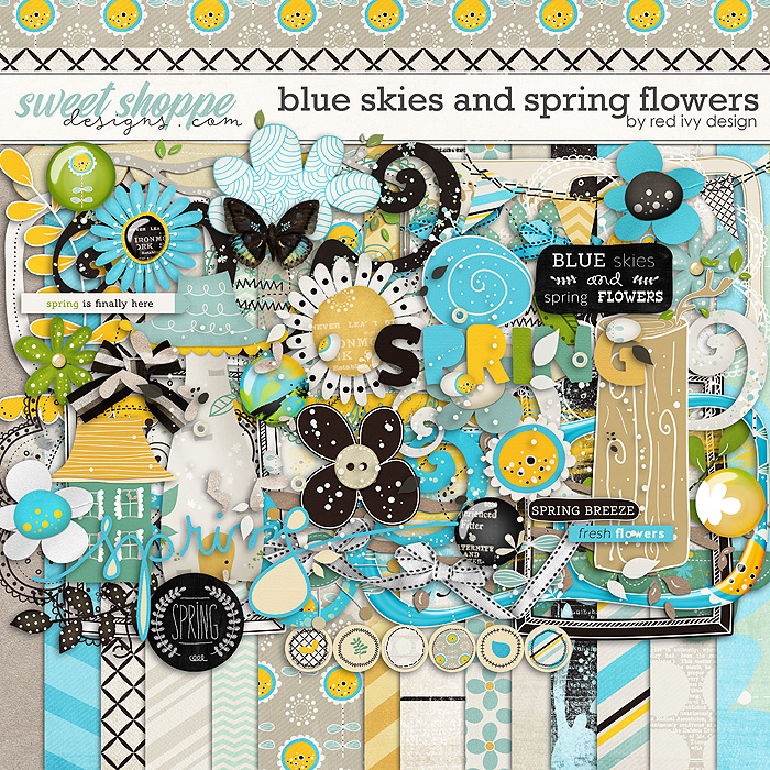 Blue Skies and Spring Flowers by Red Ivy Design