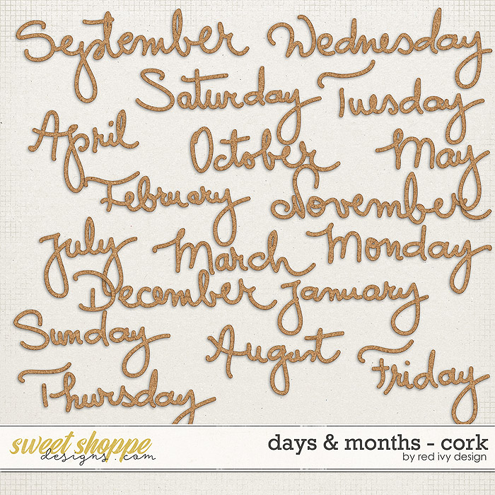 Days & Months - Cork by Red Ivy Design
