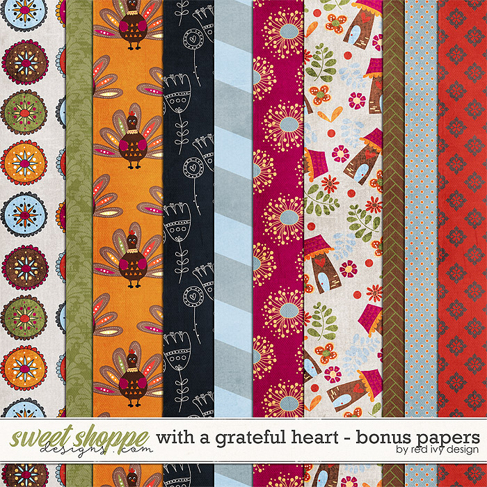 With A Grateful Heart - Bonus Papers by Red Ivy Design