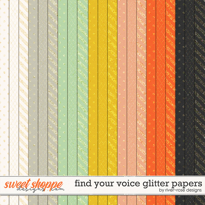 Find Your Voice Glitter Papers by River Rose Designs