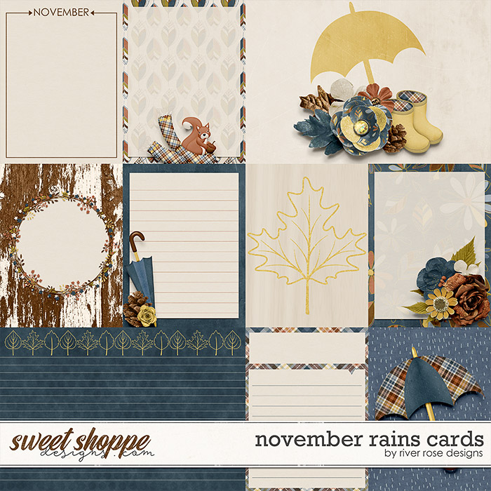 November Rains Cards by River Rose Designs