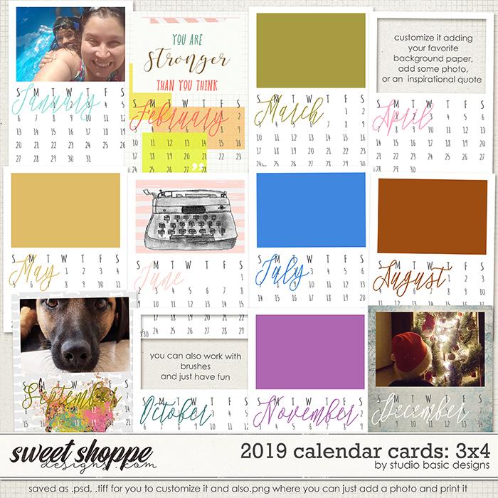 2019 Calendar Cards: 3x4 by Studio Basic