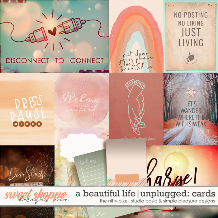 A Beautiful Life: Unplugged Cards by Simple Pleasure Designs & Studio Basic & The Nifty Pixel