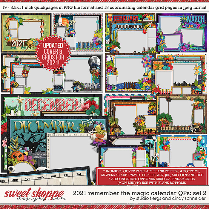 2021 Remember the Magic Calendar Quickpages: Set 2 (Updated) by Cindy Schneider and Studio Flergs