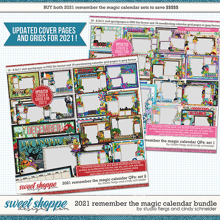 2021 Remember The Magic Calendar Bundle (Updated) by Cindy Schneider and Studio Flergs