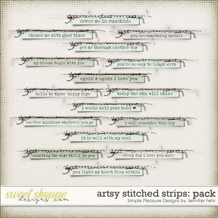 artsy stitched strips pack: simple pleasure designs by jennifer fehr