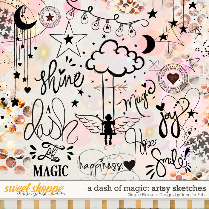 a dash of magic artsy sketches: simple pleasure designs by jennifer fehr