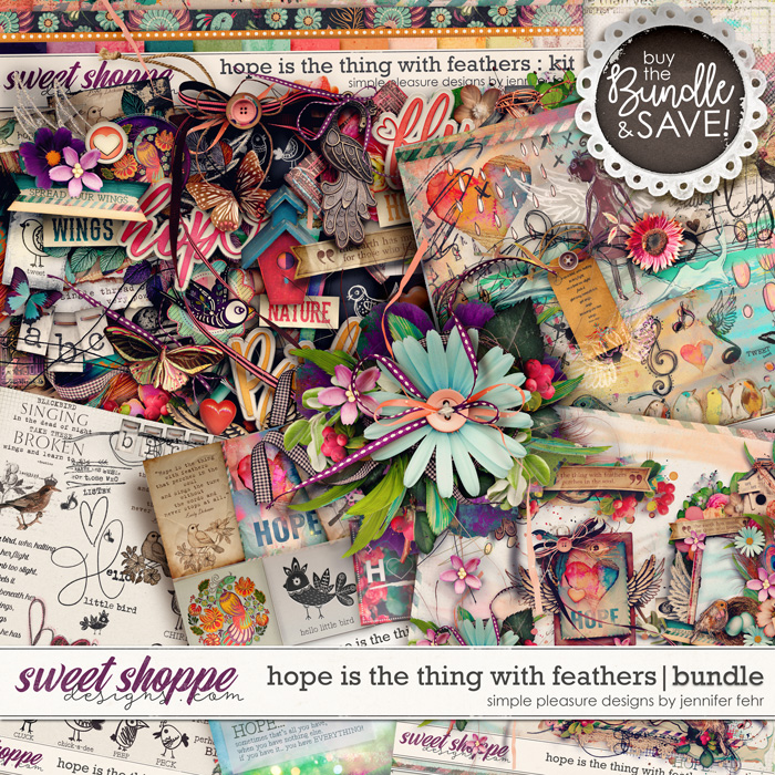 hope is the thing with feathers bundle: simple pleasure designs by jennifer fehr